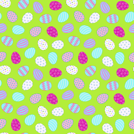 Seamless pattern with easter eggs on a green background. Chaotic location of objects. Easter theme. Vector illustration. Illustration