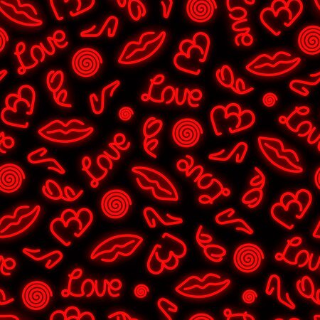Seamless neon pattern on a black background. Love subjects. Chaotic location of the glowing elements of the pattern.
