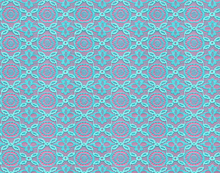 Seamless pattern in the form of turquoise lace on a pink background. Lace with geometric motifs. Detailed texture of lace. Stock Photo