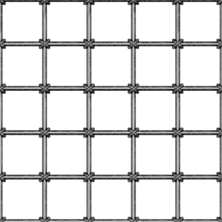 Seamless pattern in the form of an iron lattice. Medieval style. Steel barrier. The rods are interconnected by iron rings. Illustration. 写真素材