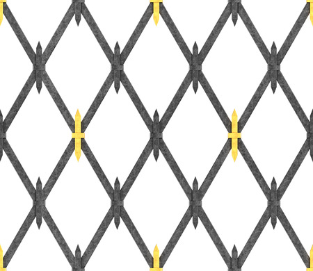 Seamless pattern in the form of an iron lattice. Medieval style. Lattice on the windows. The rods are connected by iron crosses. Illustration.