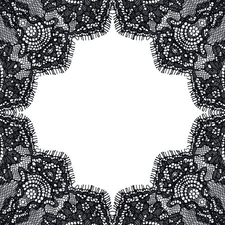 Elegant background from black guipure on a white basis. Lace frame. Square shape. Vintage style. 版權商用圖片