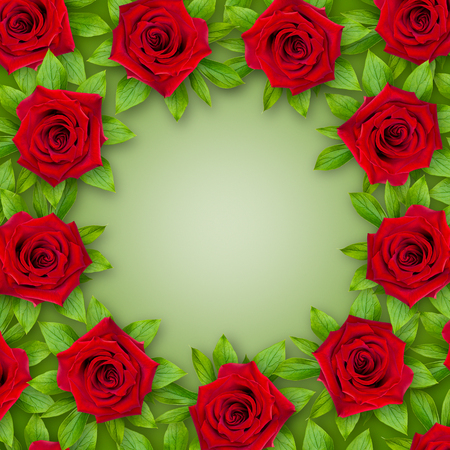 Background of red roses and green leaves around on a green background. Vintage style. Mock-up. 3d effect. Flower frame.