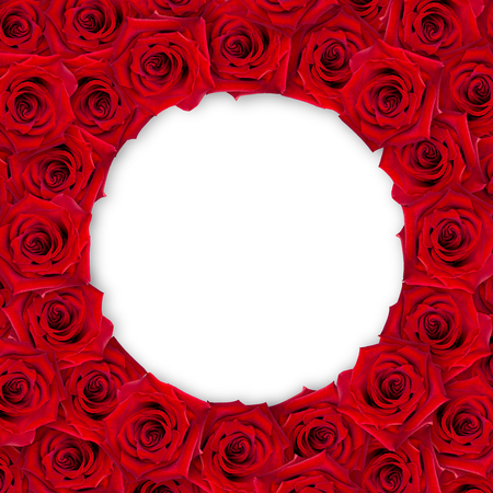 Background of red roses around on a white background. Vintage style. Mock-up. 3d effect. Flower frame.