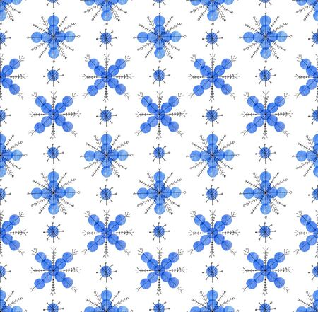 Seamless winter pattern. Creative snowflakes. Christmas and New Year. Snow pattern. Fingerprints made with finger paints. Object on a white background. Illustration.