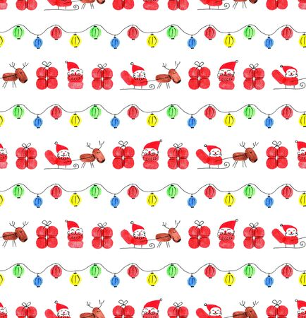 Seamless Christmas and New Year pattern. Santa Claus on a sled with reindeers. New Years garland. Fingerprints made with finger paints. Object on a white background. Illustration.
