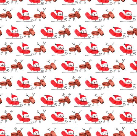 Seamless Christmas and New Year pattern. Santa Claus on a sled with reindeers. Fingerprints made with finger paints. Object on a white background. Illustration.