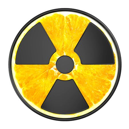 Creative sign of radiation. Radioactive Orange. Object on a white background. Ecology theme. Creative image.
