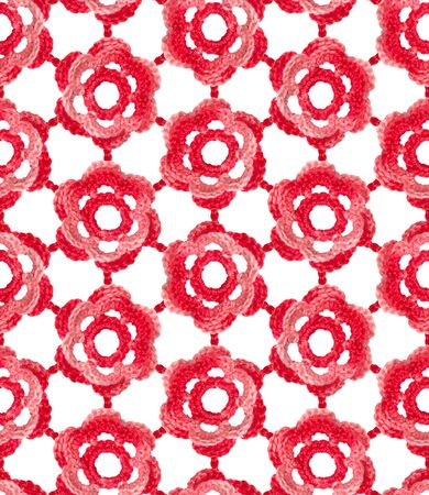Crochet irish lace seamless pattern. Voluminous flowers are knitted with red melange yarn. Lace on a white background.
