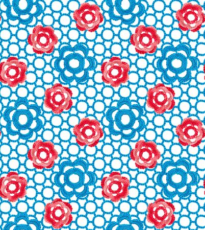 Seamless pattern of Irish lace made of red melange and blue flowers. The cloth is crocheted. Lace on a white background.
