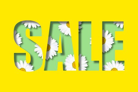 Inscription sale on a bright yellow background. Letters in the form of a stencil. Inside are randomly located daisies. Illustration. Flower decoration of the selling theme.