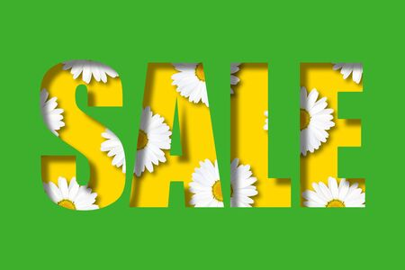 Inscription sale on a bright green background. Letters in the form of a stencil. Inside are randomly located daisies. 3d Illustration. Flower decoration of the selling theme.