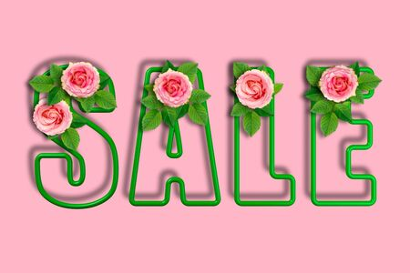 Inscription sale on a pastel pink background. Frame letters framed by roses and leaves. 3d Illustration. Flower decoration of the selling theme.