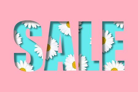 Inscription sale on a pastel pink  background. Letters in the form of a stencil. Inside are randomly located daisies. 3d Illustration. Flower decoration of the selling theme. Stock Photo