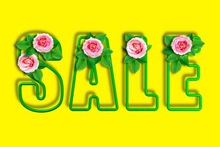 Inscription sale on a bright summer yellow background. Frame letters framed by roses and leaves. 3d Illustration. Flower decoration of the selling theme.