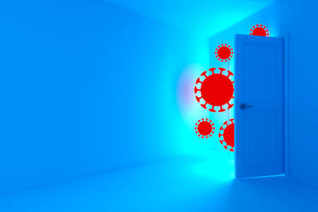 Minimalist scene of a room with an open door. Coronaviruses enter through an open door. Dark style photography. Mock-up. 3d illustration. Infection prevention concept. 스톡 콘텐츠