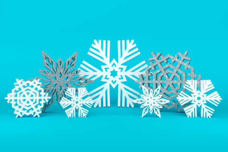 Scene of beautiful white snowflakes. Winter Holiday Background. Christmas and New Year. 3d illustration. New Year's scene.