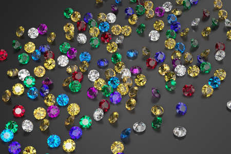 A scattering of rubies, diamonds, emeralds, sapphires on a black surface. Exhibition of precious stones. Top view. 3d rendering. Stock fotó