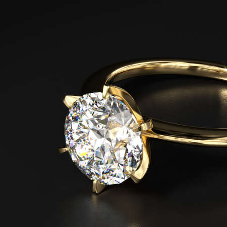 Gold ring with a large diamond on a black table. Shows perfect cut and light refraction. Dark presentation. 3d rendering.