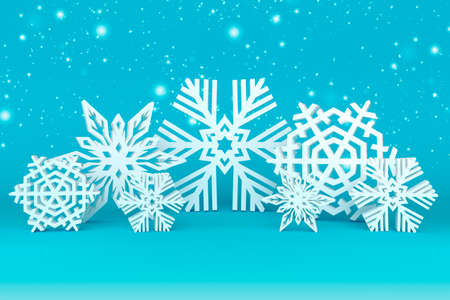 Winter Holiday Background. White snowflakes under the falling snow. Christmas and New Year. 3d illustration. New Year's scene. Stock fotó