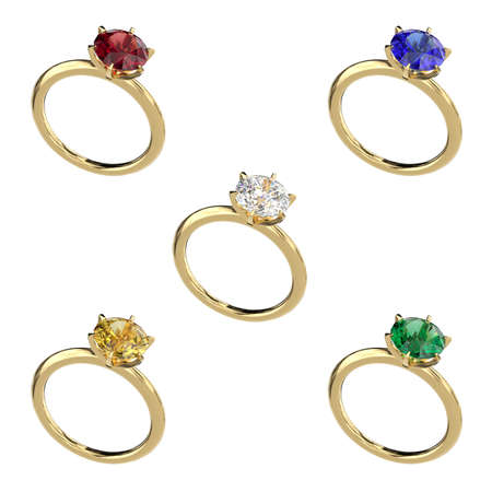 Set of gold rings with diamond, ruby, emerald, sapphire. Classic jewelry design. Objects on a white background. 3d rendering.