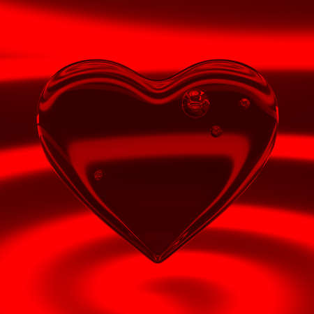 Transparent heart in red neon light. Valentine's Day. Love concept. Holiday card. 3d rendering.