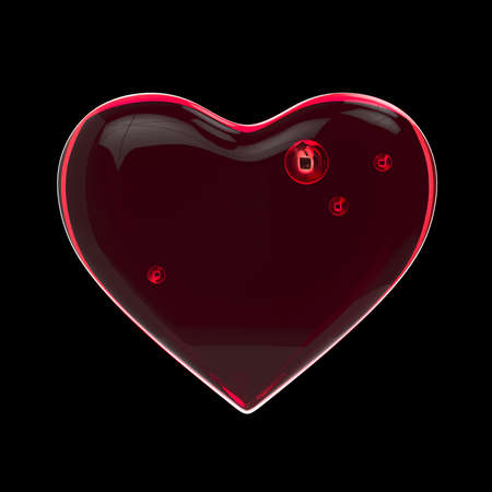 Unusual glow of a transparent heart on a black background. Valentine's Day. Love concept. Holiday card. 3d rendering.