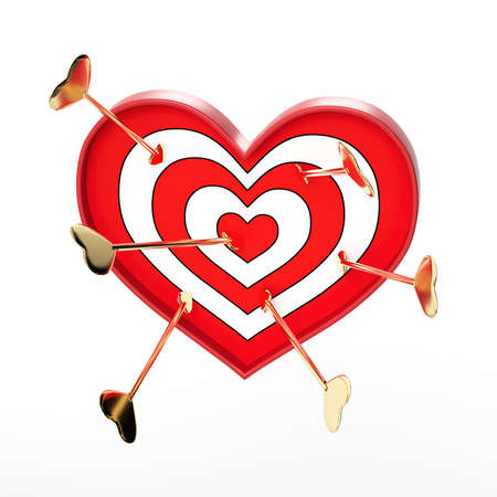 Target in the form of a heart on a white background. Arrow hitting the target. Valentine's Day. Love concept. Love shooting range. 3d rendering.