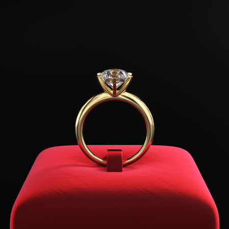 Gold ring with a large diamond on a red velvet stand. Classic jewelry design. Dark presentation. 3d rendering.