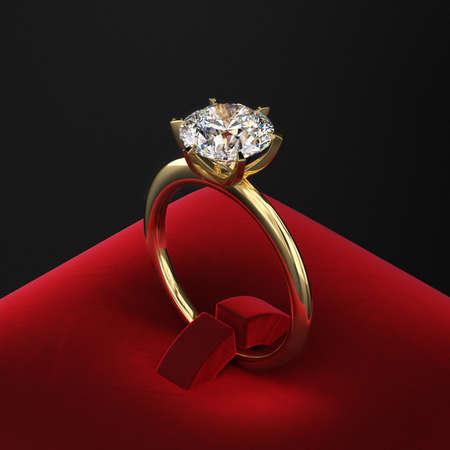 Gold ring with a large diamond on a red velvet stand. Proposal of marriage. Dark presentation. 3d rendering.