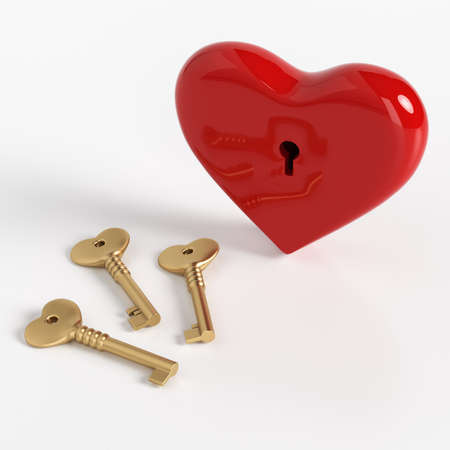 Lock in the form of a heart with keys on a white background. Valentine's Day. Love concept. Picking up the keys to the heart. 3d rendering. Stock fotó
