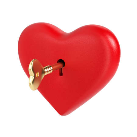 The golden key opens the heart-shaped lock. Valentine's Day. Love concept. Picking up the keys to the heart. 3d rendering. Object on a white background.