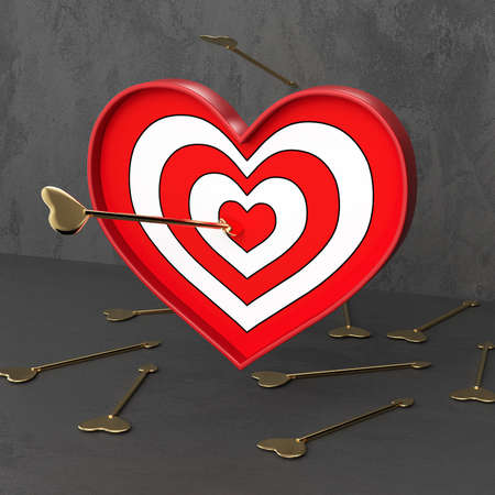 Target in the shape of a heart. Arrow hitting the target. Valentine's Day. Love concept. Love shooting range. 3d rendering.