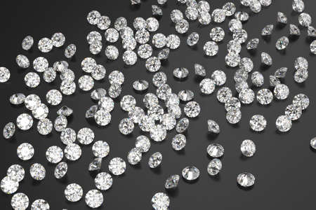 A scattering of diamonds on a black background. Exhibition of precious stones. Perfect cut. 3d rendering.