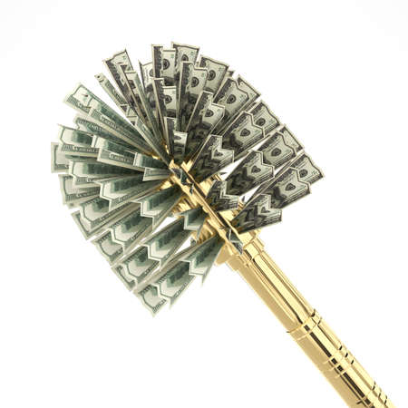 Creative gold toilet brush with dollar bristles. Corruption symbol. Object on a white background. Concept. 3d rendering.