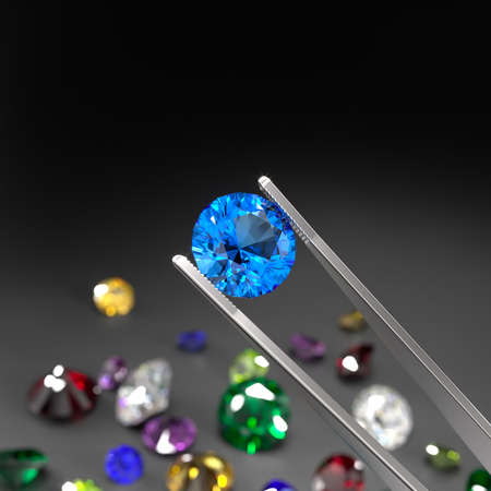 The tweezers hold the aquamarine. A scattering of rubies, diamonds, emeralds, sapphires on a black surface. Gemstone Industry. Examination for authenticity. 3d rendering.