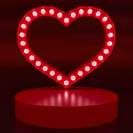 Heart-shaped stand with glowing lights for presentation. Valentine's Day. Love concept. Mock-up. 3d rendering.