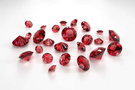 A scattering of rubies of various sizes on a white background. Exhibition of precious stones. Perfect cut. 3d rendering.