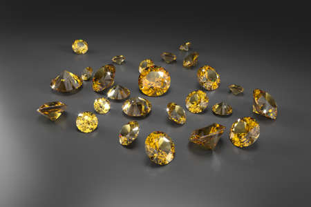 A scattering of yellow sapphires of different sizes on a black background. Exhibition of precious stones. Perfect cut. 3d rendering. Stock fotó