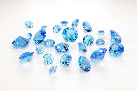 A scattering of aquamarines of various sizes on a white background. Exhibition of precious stones. Perfect cut. 3d rendering.