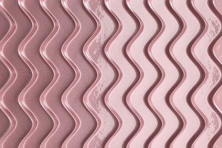 Decorative ceramic pink panel. Convex wavy ribs. Wall decor. Pastel colors. 3d illustration.