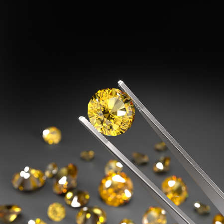 Tweezers holds a yellow sapphire. A scattering of sapphires on a black surface. Gemstone Industry. Expertise for genuineness. 3d rendering.