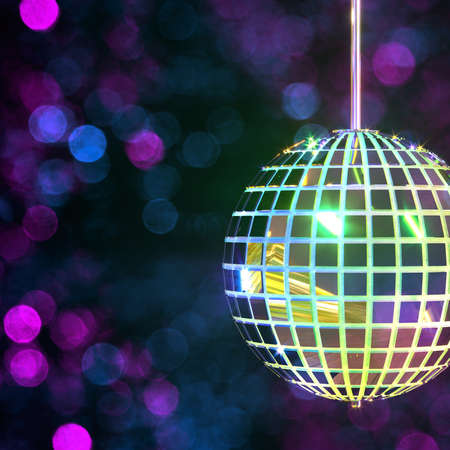 Creative image with disco mirror ball. Party accessories. Festive background. Multi-colored shimmering bokeh. 3d rendering.