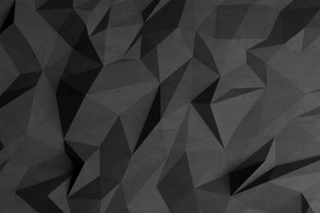 Low-poly background in the form of chaotic black polygons. Wall decor. Dark style. 3d illustration. Stock fotó