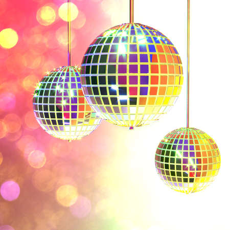 Three disco mirror balls on a gradient white-pink background. Party accessories. Entertainment industry. Multi-colored shimmering bokeh. 3d rendering.