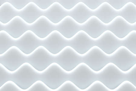 Abstract white background. Dimensional horizontal waves. Minimalist style. 3D illustration.