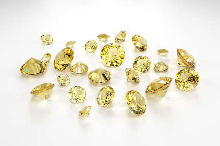 A scattering of yellow sapphires of different sizes on a white background. Exhibition of precious stones. Perfect cut. 3d rendering.