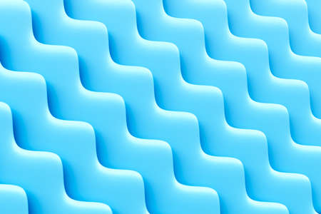Abstract blue background. Three-dimensional diagonal waves. Minimalist style. 3D illustration.