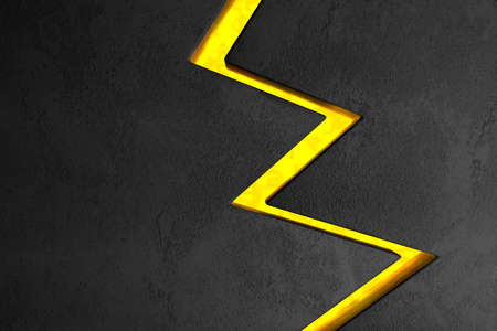 Surface background with a crack in the form of lightning. A volcanic eruption. Dark design style. 3d illustration. Stock fotó