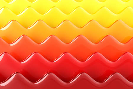 Bright gradient abstract background. Dimensional horizontal red-yellow waves. Minimalist style. 3D illustration.